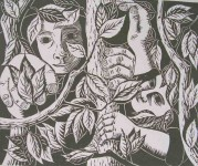 Apple Pickers, Linocut, A3, Carl Borges